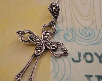 Vintage Marcasite Sterling Cross Pendant on Silver Chain