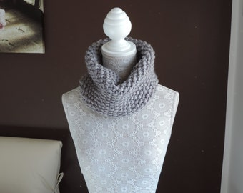 Handmade grey wool neckwarmer