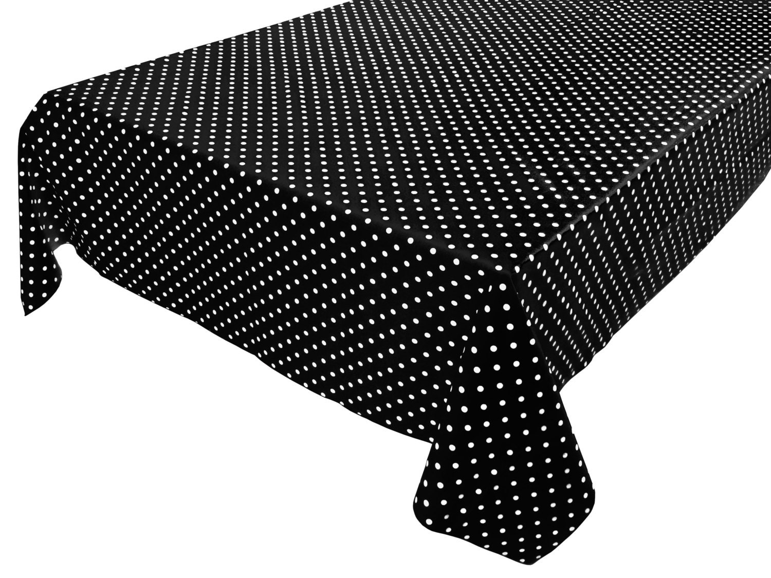 Cotton table cloth polka dots spots small dots white on for Black polka dot tablecloth