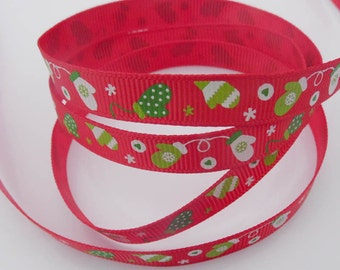 Christmas Ribbon, Christmas Grosgrain, Christmas 10mm, 10mm Grosgrain, 10mm Ribbon, Reindeer Ribbon, Festive Grosgrain, Festive Ribbon, Xmas