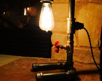 Steampunk Inspired Lamp with Edison Bulb