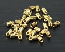 100 raw Brass End Cap - for 1.5mm Cord / Chain - 4mm Length - Cord Tip End, raw brass ribbon end, raw brass ends cap- from California USA