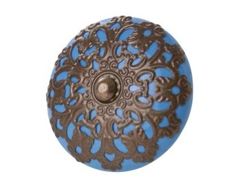 Door Handle ethnic style, screw button, Schraubknopf blau, Türgriff