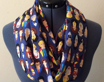The Doctor Infinity Scarf / Faces of Who / Doctor Who Scarf / Fandom Item / Geek / Nerd / Pop Culture / Scarf / Infinity Scarf / Whovian