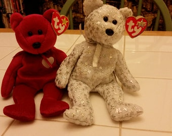 Set of two TY beanie baby bears
