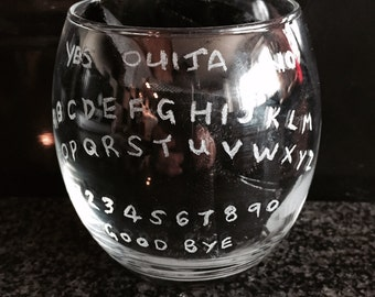 Hand etched Ouija Glass