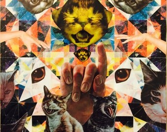 Original cat art print collage, surreal, occult, unique