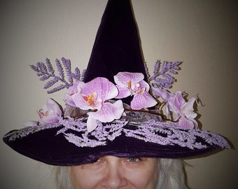 Witch Hat - The Aquarian. Purple. lavender. violet. Witchcraft. clothing. wiccan. love. chellisimas. handmade. magic. wizard. fairy. faery.