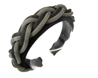 Beautiful unique padded gray velvet headband/hairband embellished with plaited dark light grey braid decoration, wedding/occasion accessory