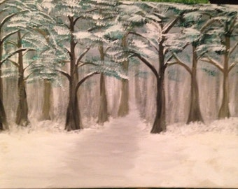 "Original.. ""Pines"" landscape acrylic painting on canvas 12x16"