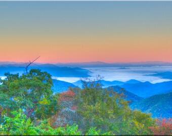 Beautiful Pastel Mountain Sunrise, North Carolina, Mountains, NC