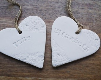 Personalised named heart tags