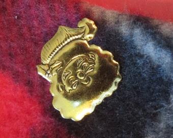 Santa Claus Pin Brooch 24 Karat Gold Plate Saint Nick Father Christmas Holiday PG364