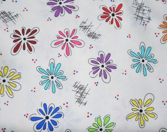 "Blank, ""IBIZA COLLECTION"", multicolored flowers on white"