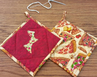 Pot Holders ~ Machine Embroidered and Quilted Set of 2 Stacks of Pizza Slices ~ Housewarming Gift or Wedding Gift or Shower Gift