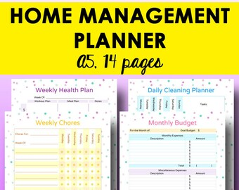 Home Organization Printables, Home Binder, Household Management Planner Printable, Household Planner, A5 Binder Printables, Instant Download