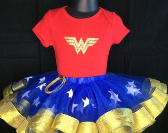 Superhero woman ribbon tutu set