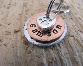 small Pet ID tag//dog tag//custom Pet ID//Pet name tag//Cat name tag//Pet ID tags//personalized pet tags//Small dog tag//hand stamped tags
