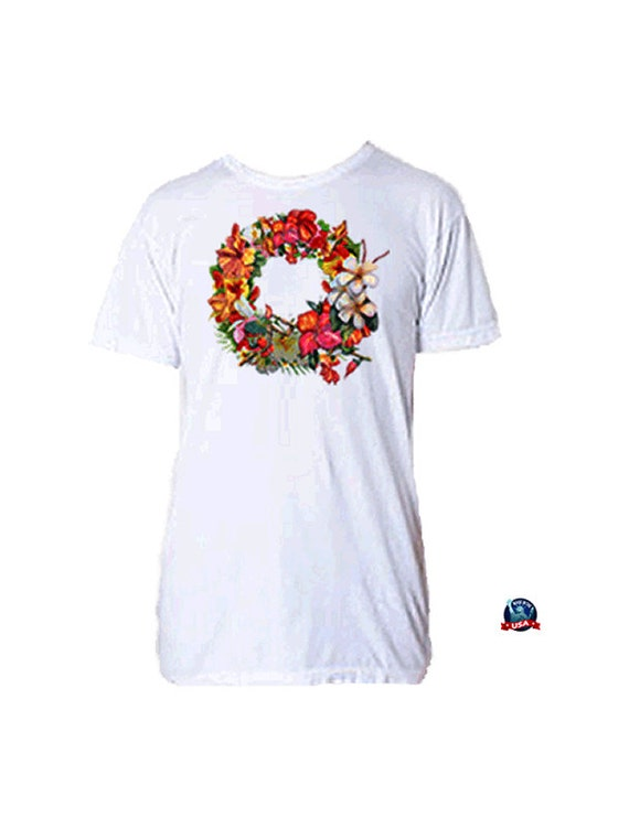 Floral Wreath 100% combed cotton T-shirt derived from a design by artist Kathy Baumann