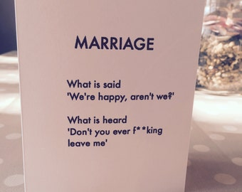 Funny Marriage/Wedding/Valentines card