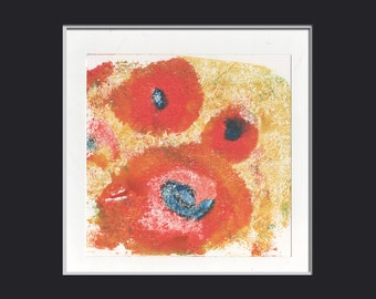 special SALE! was 55, now 45. encausticart painting  original monoprint title: POPPY FIELDS 1.11 red yellow