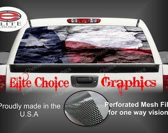 Texas Flag Rocks Rear Window Graphic Tint Decal Sticker Truck SUV Van Car