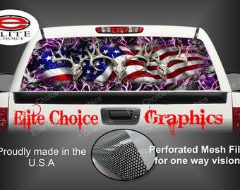 American Buck Deer Obliteration Skull Pink Rear Window Graphic Tint Decal Sticker Truck SUV Van Car