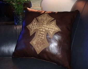 Leather Western and Cross Pillows