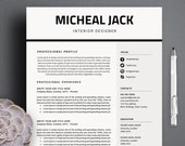 Professional Resume Template | CV Template 3 Pages A4 Size + Cover Letter for MS Word + Free Icon Sets Instant Digital Download 'Micheal'