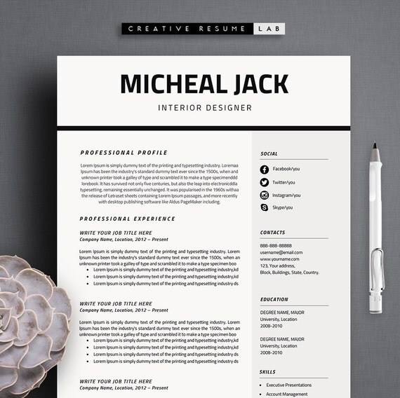 Professional Resume Template CV Template 3 Pages A4 Size