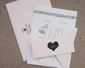 Blush Glamourous Modern Romance Wedding Invitation Suite—Printed Sample