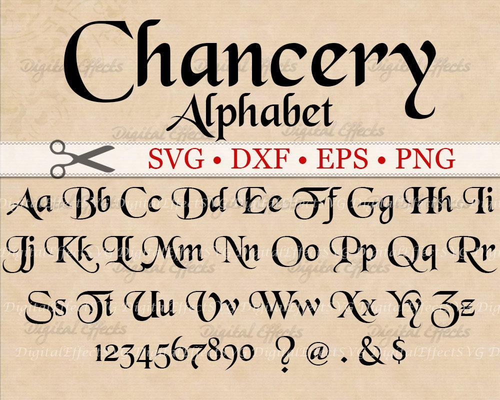 Chancery Calligraphy Monogram Svg Dxf Eps Png Medieval