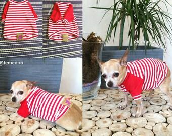 Ranglan Bombom dog tshirt. Dog red strips tshirt. Ranglan dog tshirt.