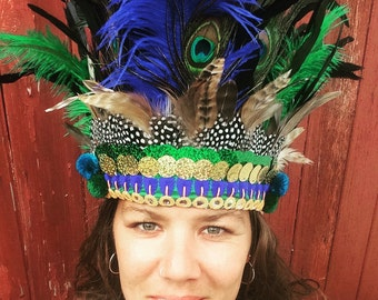 Feather and sequin headdress, festival headdress, feather headdress, boho jewellery, festival clothing, carnival headdress, summer parties