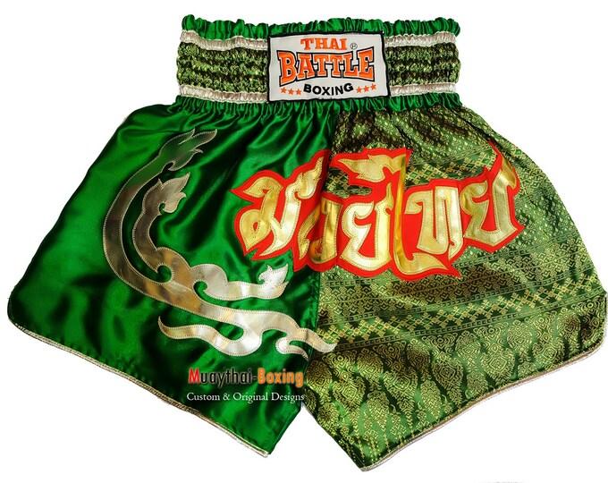 Thai Battle Boxing Shorts Martial Arts - Green