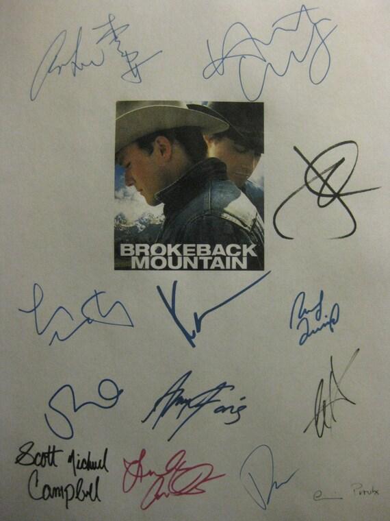 Brokeback Mountain Signed Film Movie Screenplay Script X13 Autograph Heath Ledger Jake Gyllenhaal Michelle Williams Anne Hathaway Anna Faris