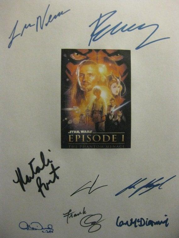Star Wars Episode I The Phantom Menace Signed Film Movie Screenplay Script Autographs Liam Neeson Ewan McGregor Natalie Portman George Lucas