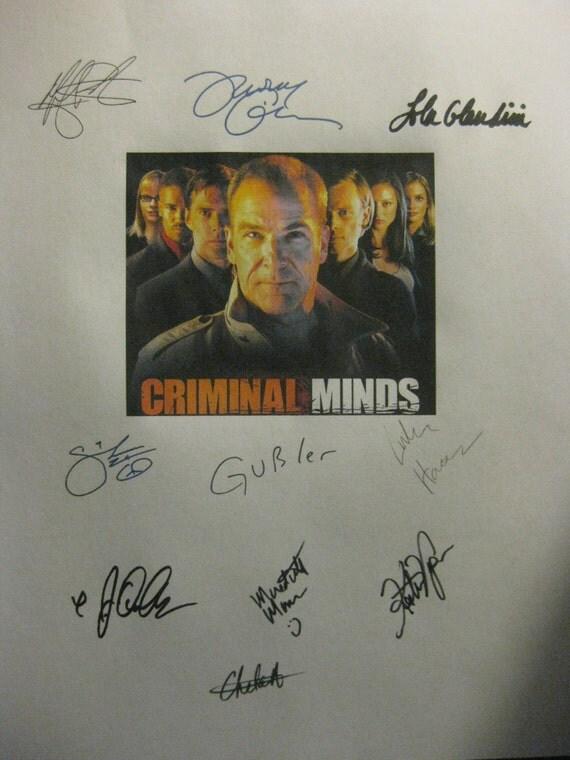 Criminal Minds Signed TV Script Screenplay X10 Autographs Mandy Patinkin Thomas Gibson Matthew Gray Gubler Kirsten Vangsness DJ Qualls Haas