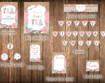 Tea Party Package, Birthday Tea Party, Shabby Chic, Girl Birthday, Tea Party Invite, Shabby Chic Birthday, Girls Tea Party, Party Package