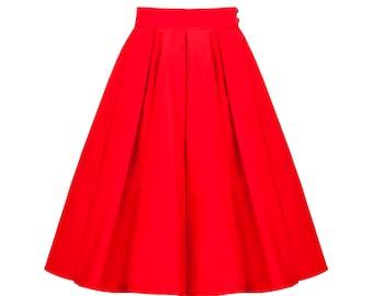Red skirt, retro skirt, circle skirt, pin up skirt, petticoat skirt, swing skirt