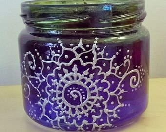Hand Painted Jar, Candle Holder, Henna pattern Blue/Green/Silver