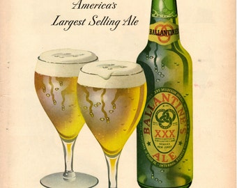 1940s Ballantine Ale vintage magazine ad bar decor wall decor old paper advertising
