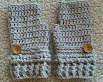 Crochet Fingerless Gloves with Buttons