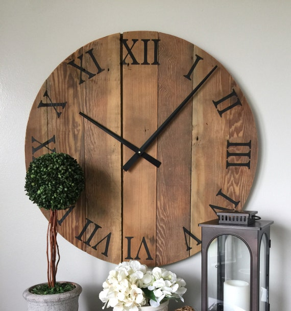 oversized wall clock wooden wall by woodlanecreationsllc
