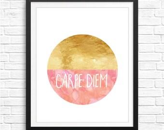 Carpe Diem wall art, Gold Carpe Diem art, Coral Watercolor print Carpe Diem gold poster printable walls Gold decor Typography watercolor