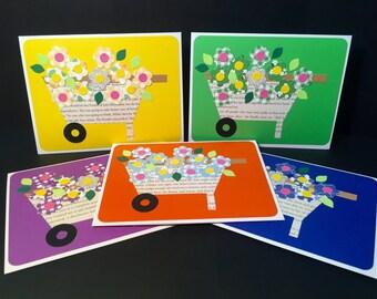 Wheelbarrow Full Of Flowers - Blank Greeting Card