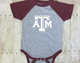 Texas A and M Baby Bodysuit-Aggie Toddler Bodysuit-Aggie Baby-Baby Aggie Body Suit-TAMU Baby Shower Gift-Texas Aggies Bodysuit-Texas Aggies