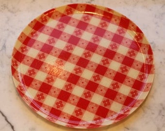 Vintage Red Gingham Mache Ware or Tray Mold
