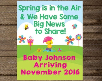Pregnancy Announcement, Spring pregnancy announcement, digital print, pregnancy reveal, baby on the way sign, pregnancy sign, poster, print