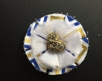 Blue & Gold Flower on French Barrette